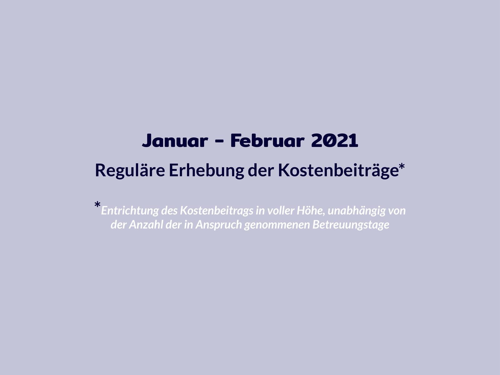 Chronologie Kosten Januar bis Februar 2021