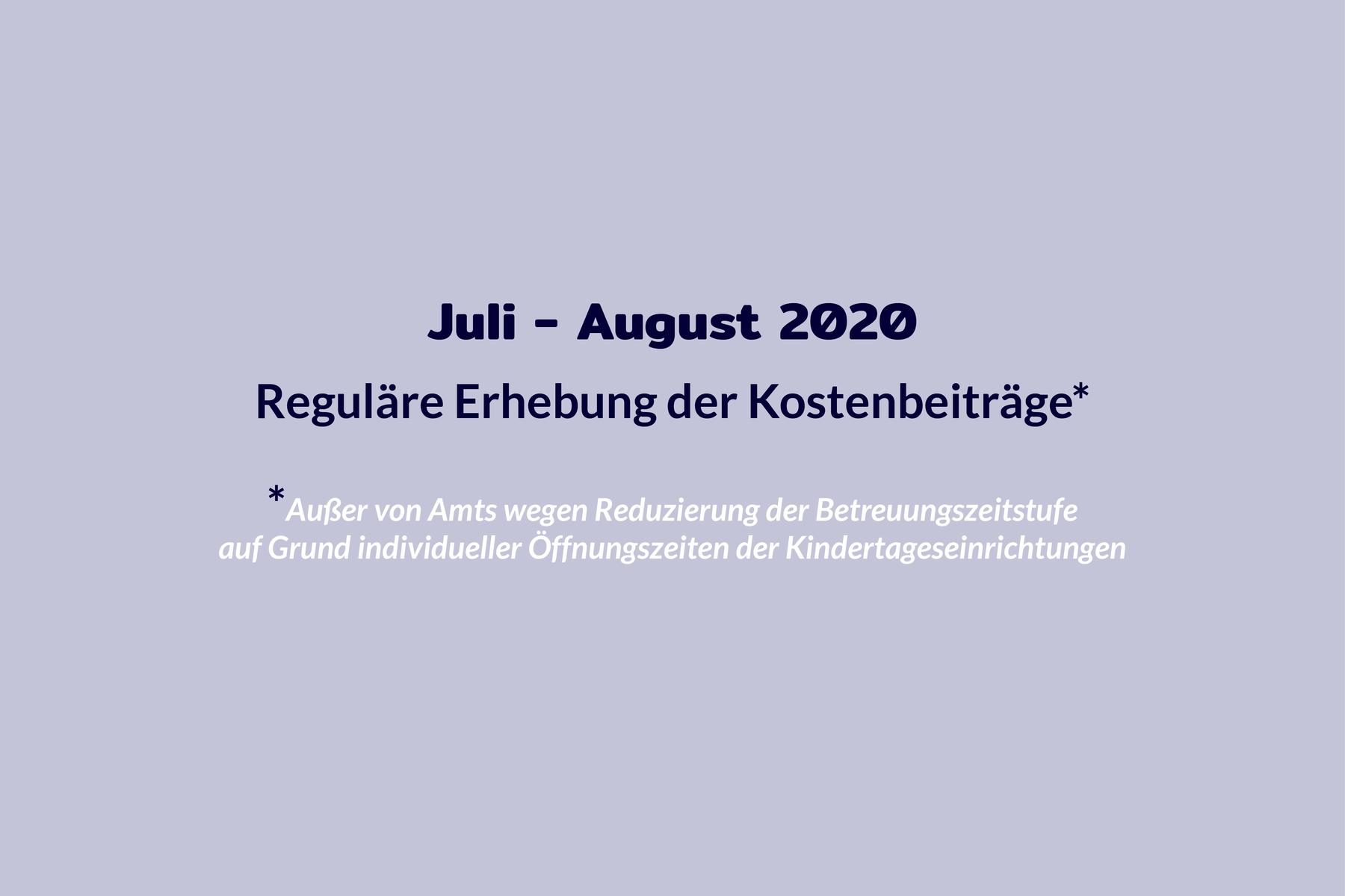 Chronologie Kosten Juli bis August 2020