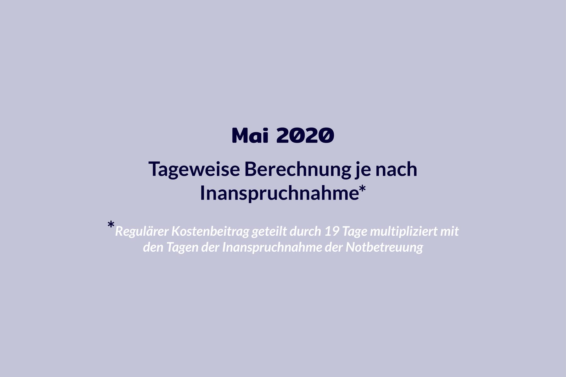 Chronologie Kosten Mai 2020