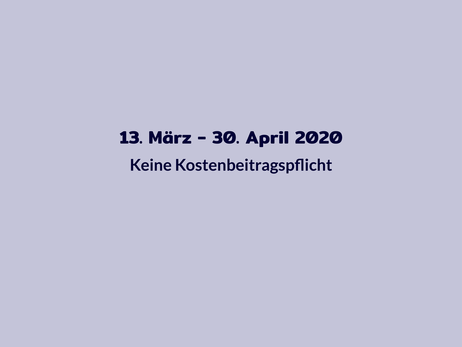 Chronologie Kosten 13. März bis 30. April 2020